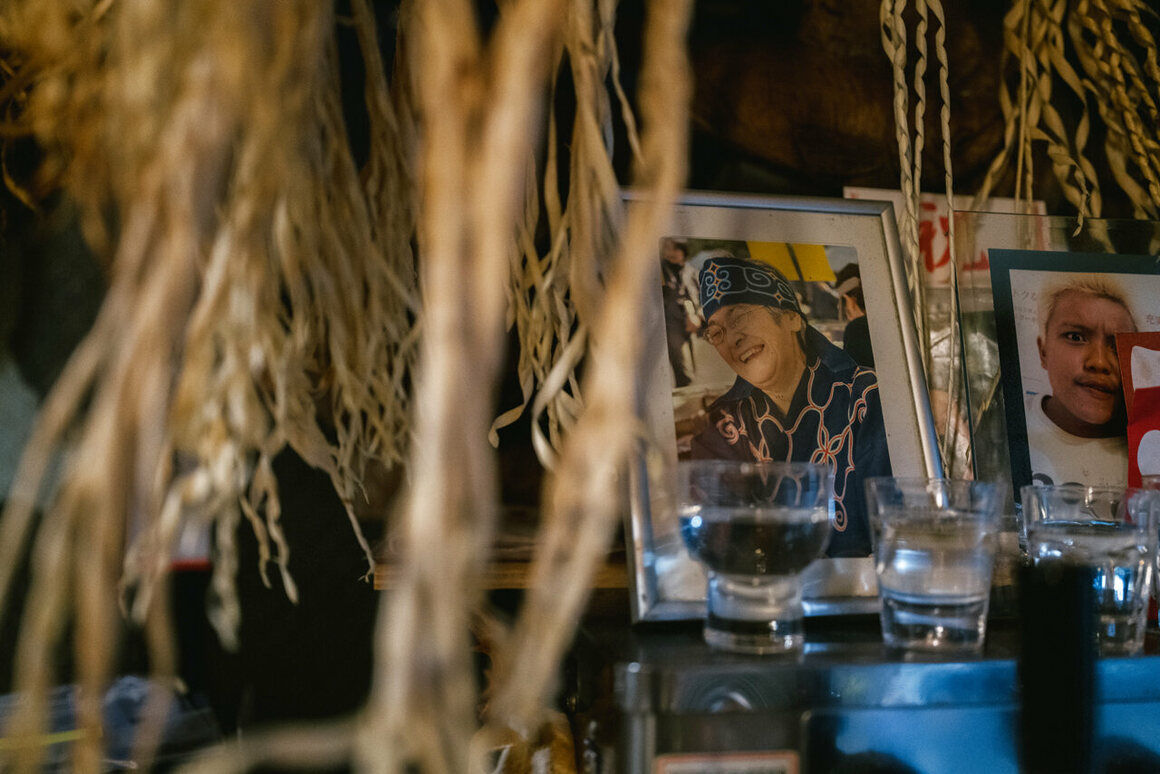 The photo is of Teruyo Usa's mother wearing Ainu robes. Teruyo and her mother opened the restaurant together, but her mother passed away a month after it was inaugurated.