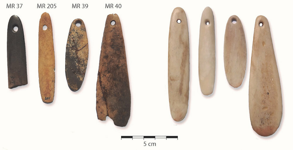 Archaeologist Neil Rusch crafted bone replicas (right) of original artifacts from the Matjes River site (left).