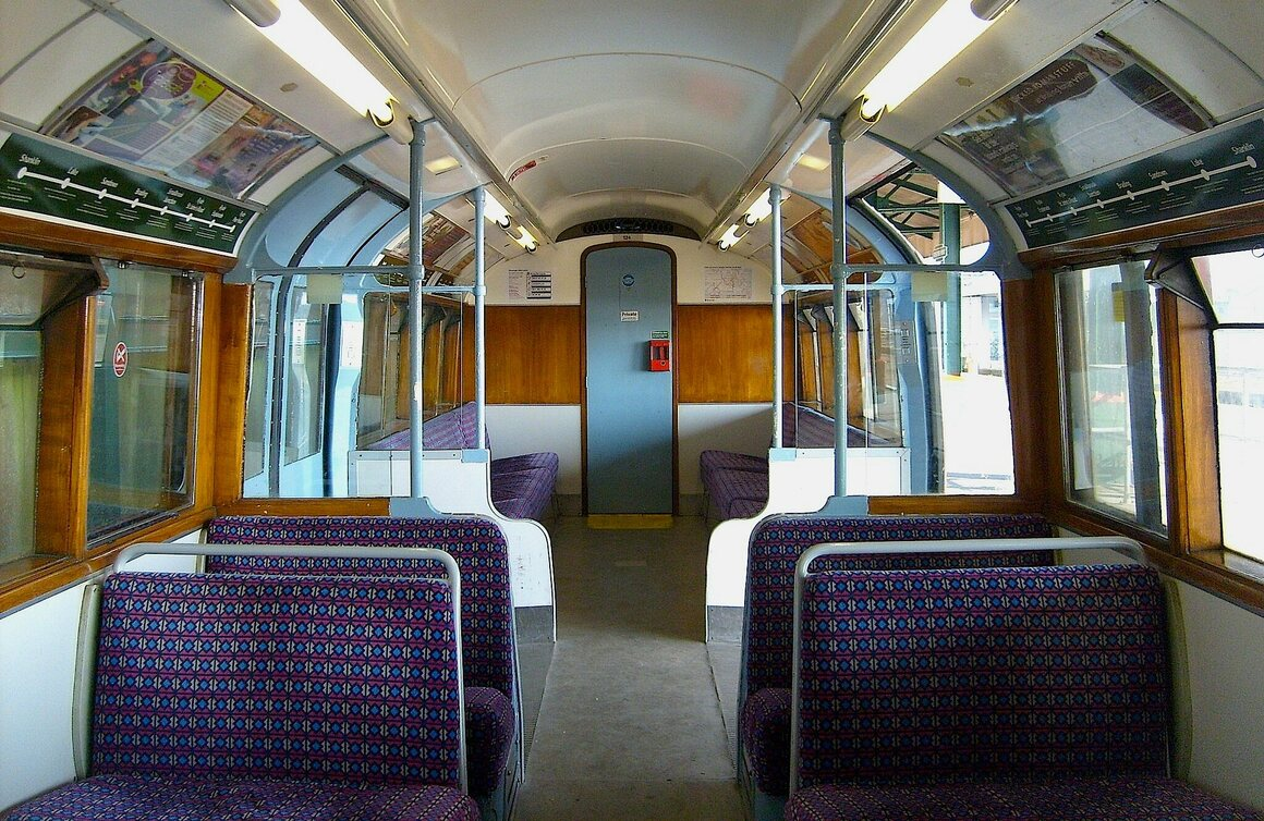 The refurbished interior of a Class 483 carriage on the Island Line.