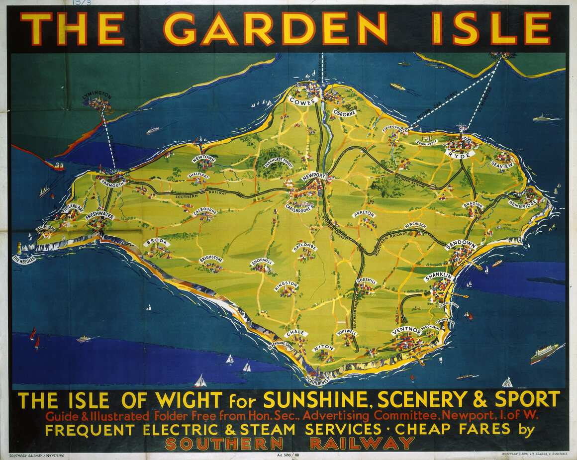 A 1939 poster promoting rail trips on the Isle of Wight.
