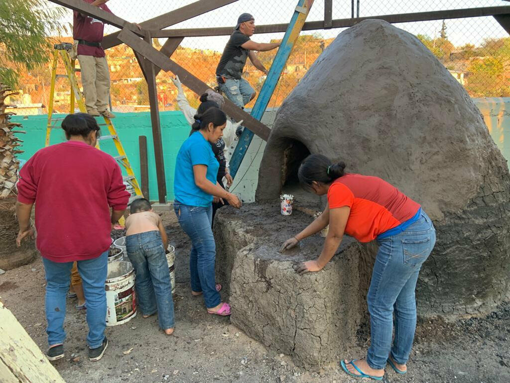 Building the horno was a group project.