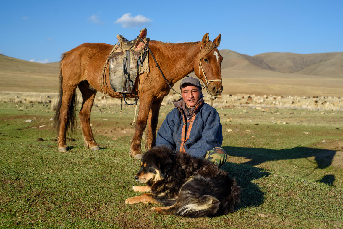 Nomadic herder Chultemsuren and his bankhar dog take a moment of rest on the steppe.