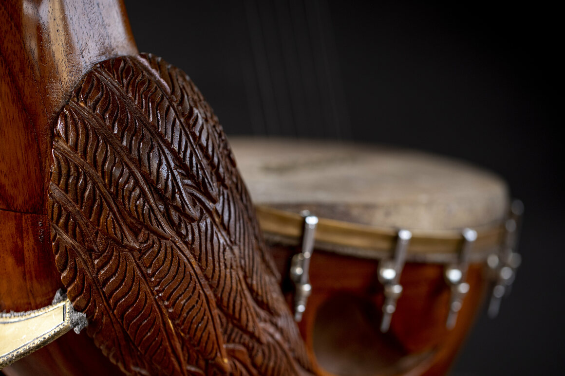 Each yazh is crafted red cedar, which is lighter and more practical than the traditional jackfruit wood.