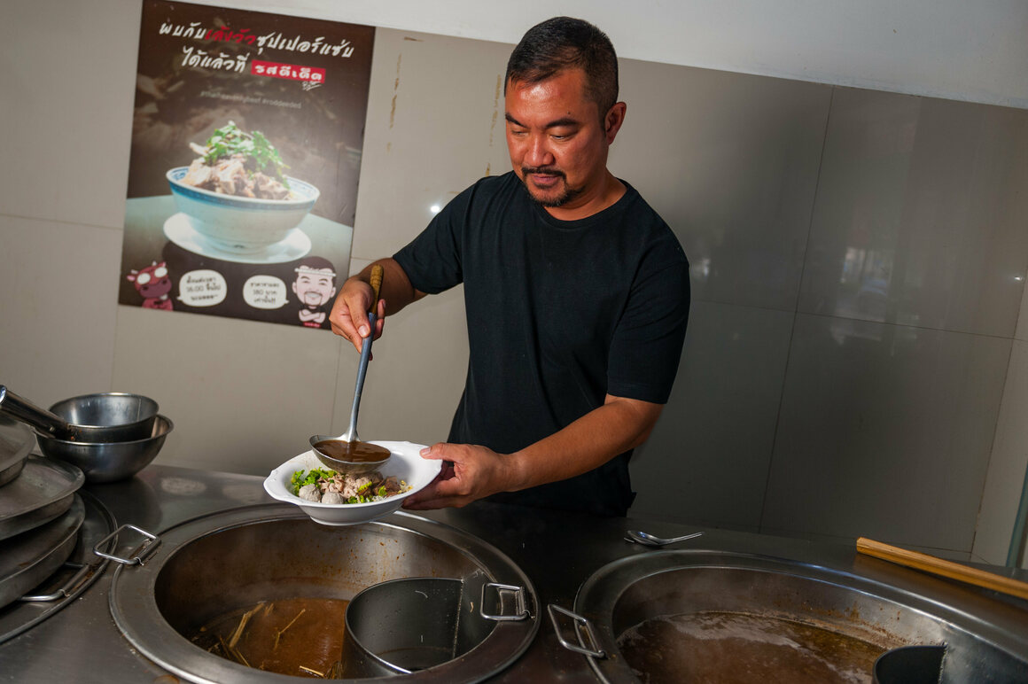 Sittichan Vuttipornkul, the second-generation owner of Rod Dee Ded, in Bangkok, tastes a noodle stock that includes marijuana stems and roots.
