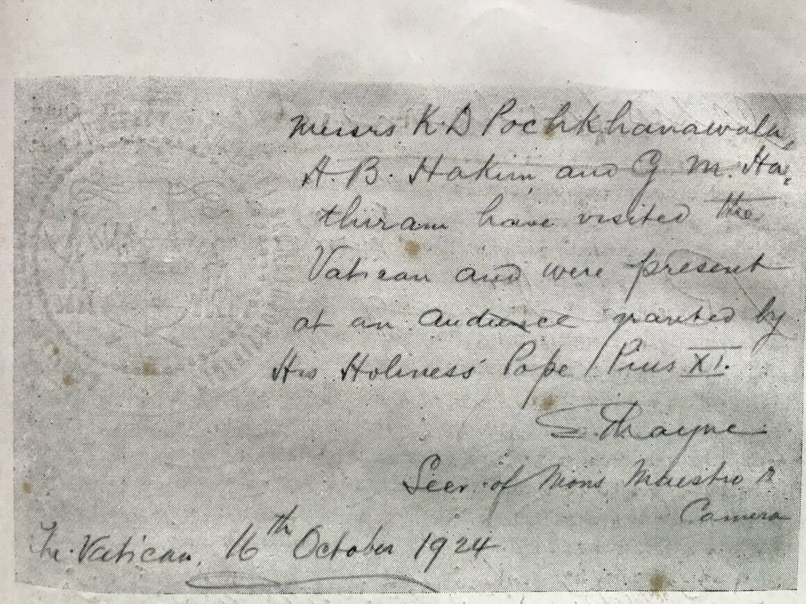 An embossed note attests to the audience the cyclists had with Pope Pius XI.
