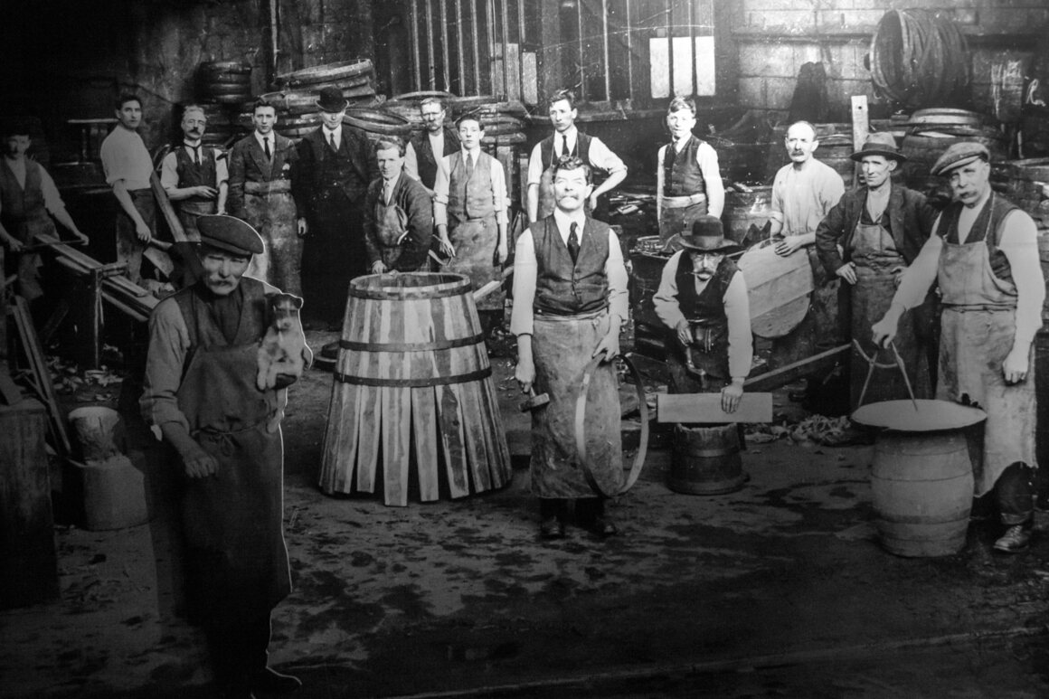 A period photograph at the old Jameson Distillery in Dublin, which is now a tourist attraction.