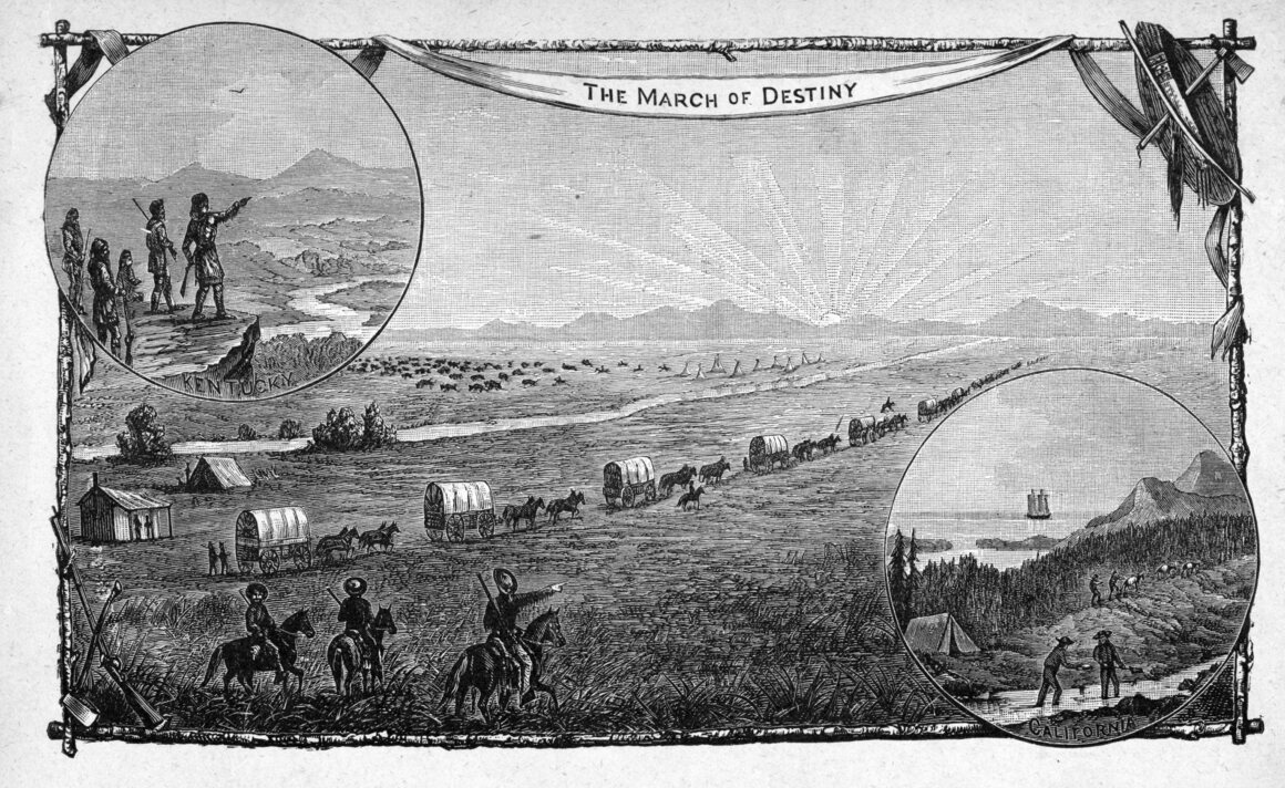A depiction of a wagon train traveling from Kentucky to California, circa 1850.