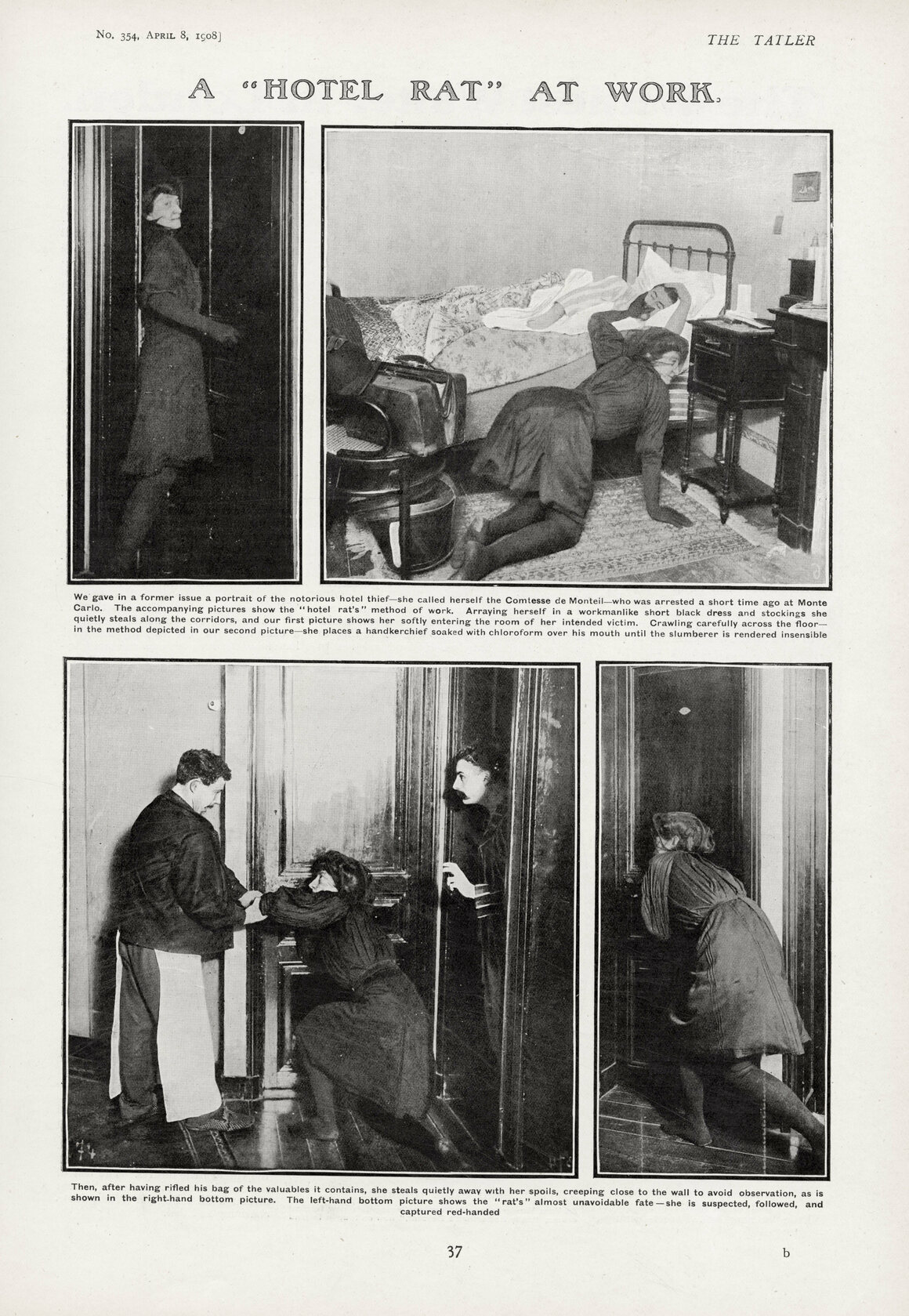 In April 1908, <em>The Tatler</em> published a detailed reenactment of the pseudocomtesse's M.O. and arrest—erroneously described here as taking place in Monte Carlo.