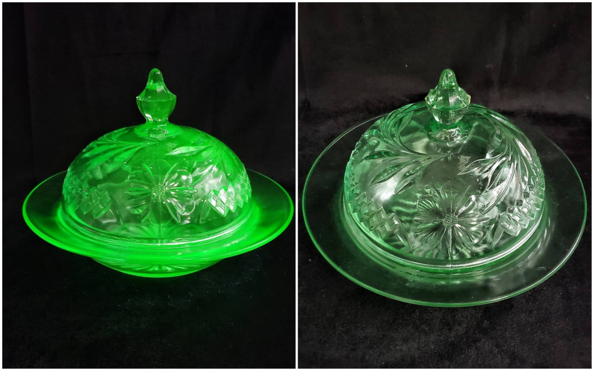 Collector Chelsea Lopez's butter dish, shown under a black light and without it.