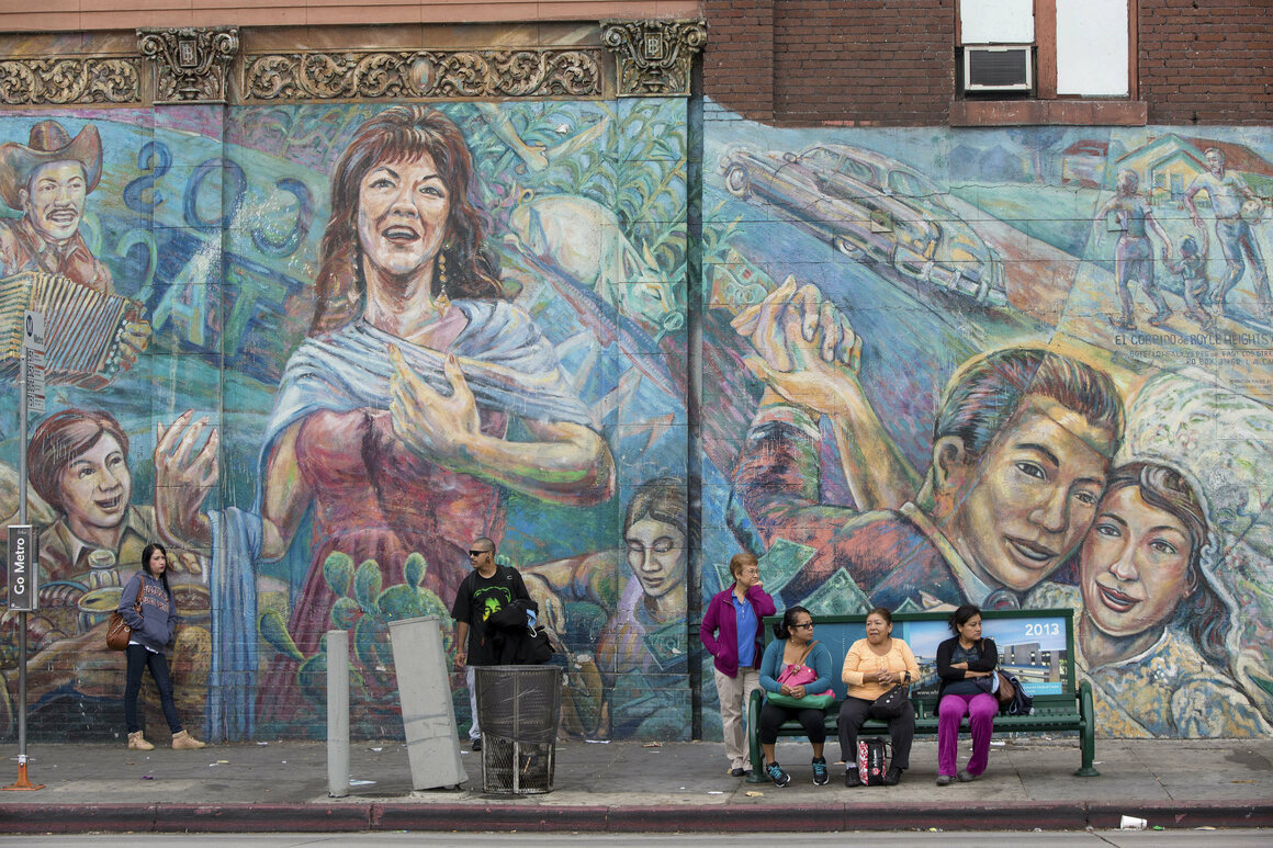 A mural in Boyle Heights, a neighborhood that has seen tensions over gentrification.