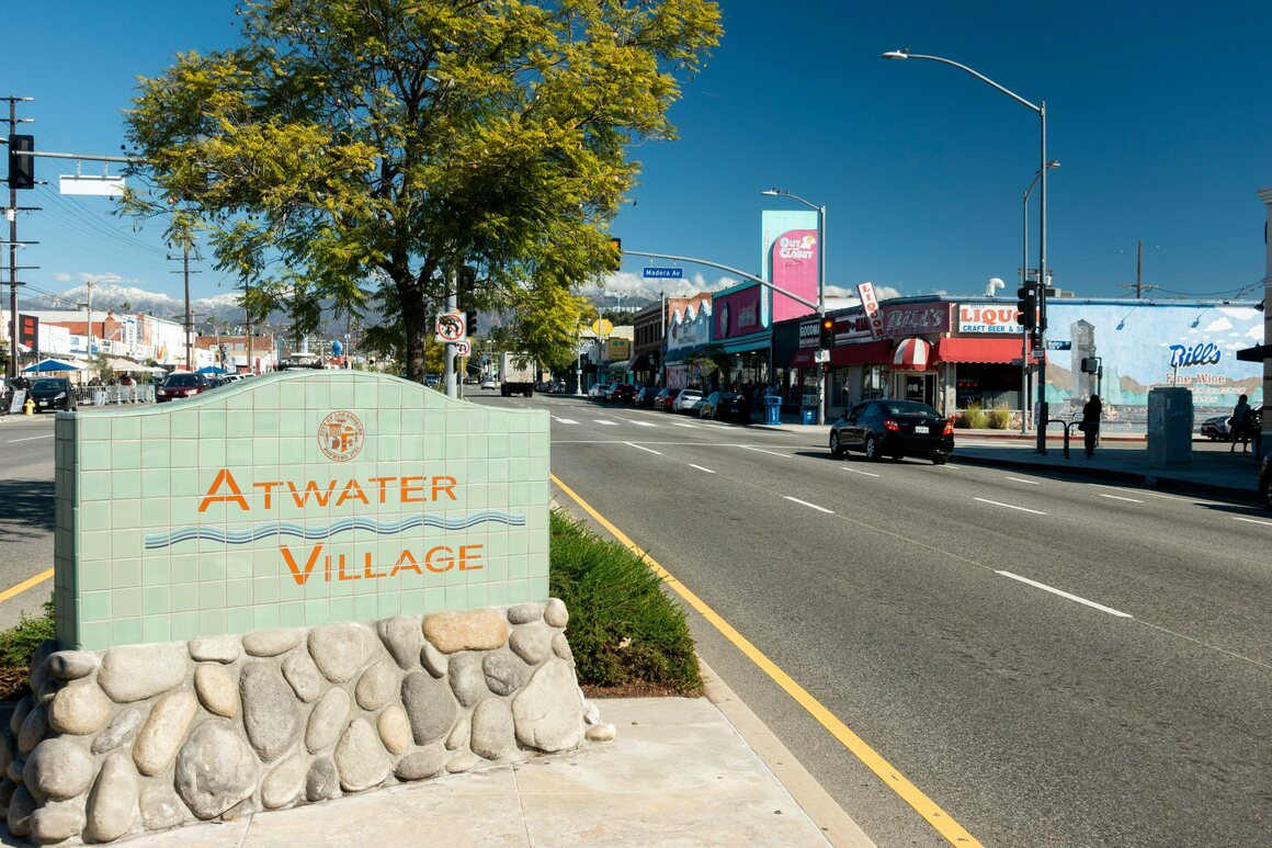 The sign for Atwater Village, on Glendale Boulevard.