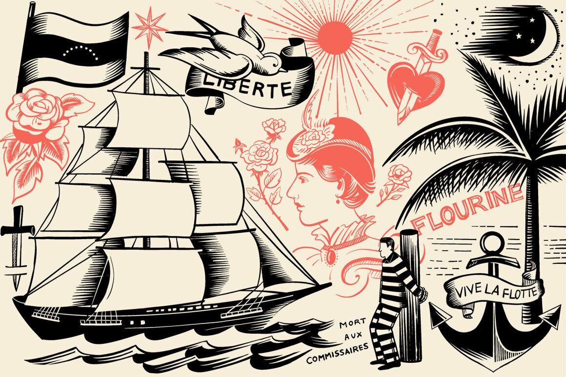 Monsieur Bonheur's dozens of tattoos suggest a well-traveled life.