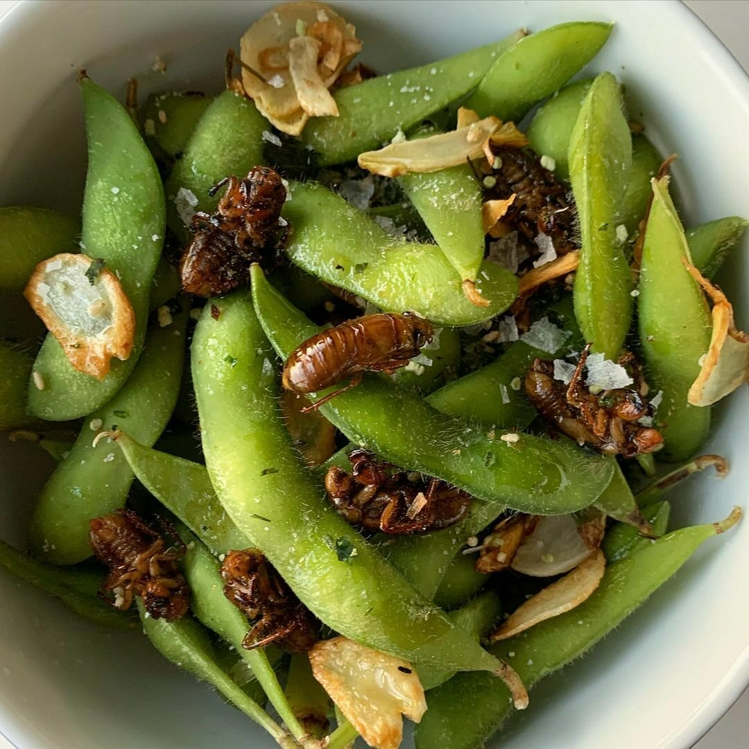 The garlic chips perfectly complement the edamame and nymphs.