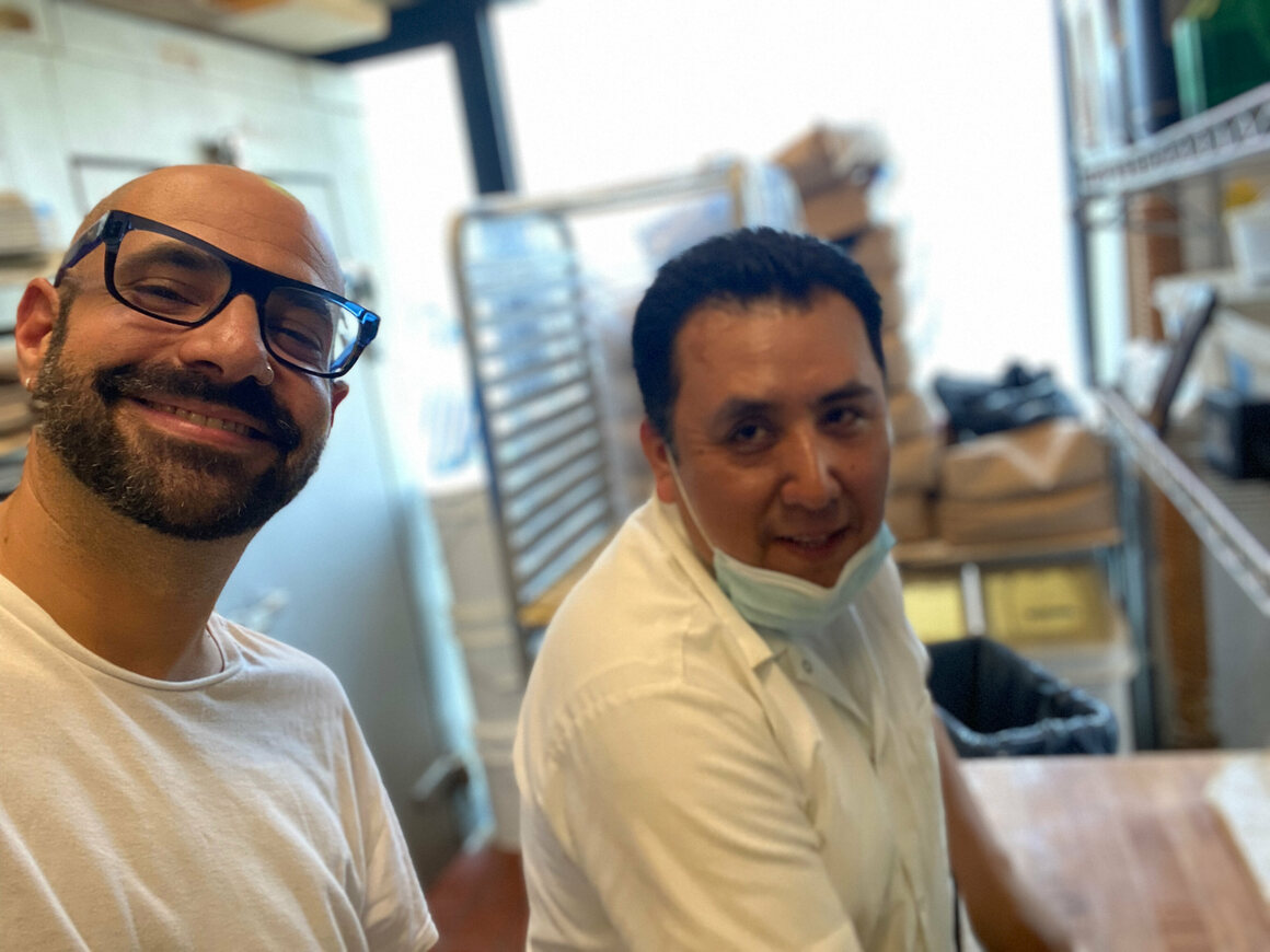 Shop owner Peter Shelsky and bagel roller Pasquale Fuentes.