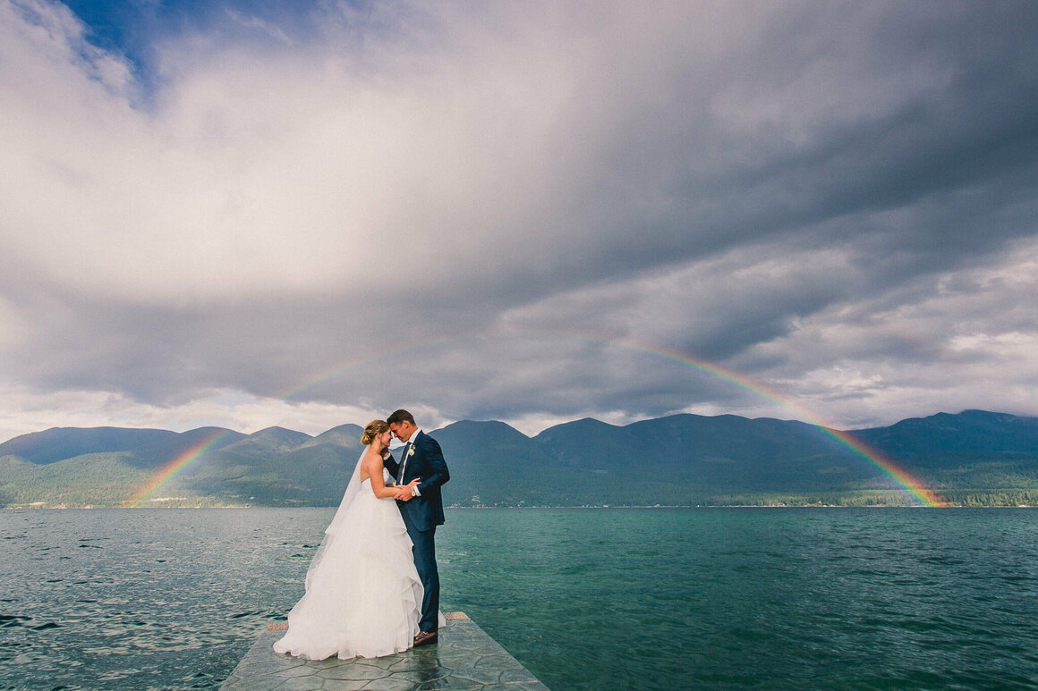 Sometimes weather and weddings work together, like in this photograph from Flathead Lake, Montana.