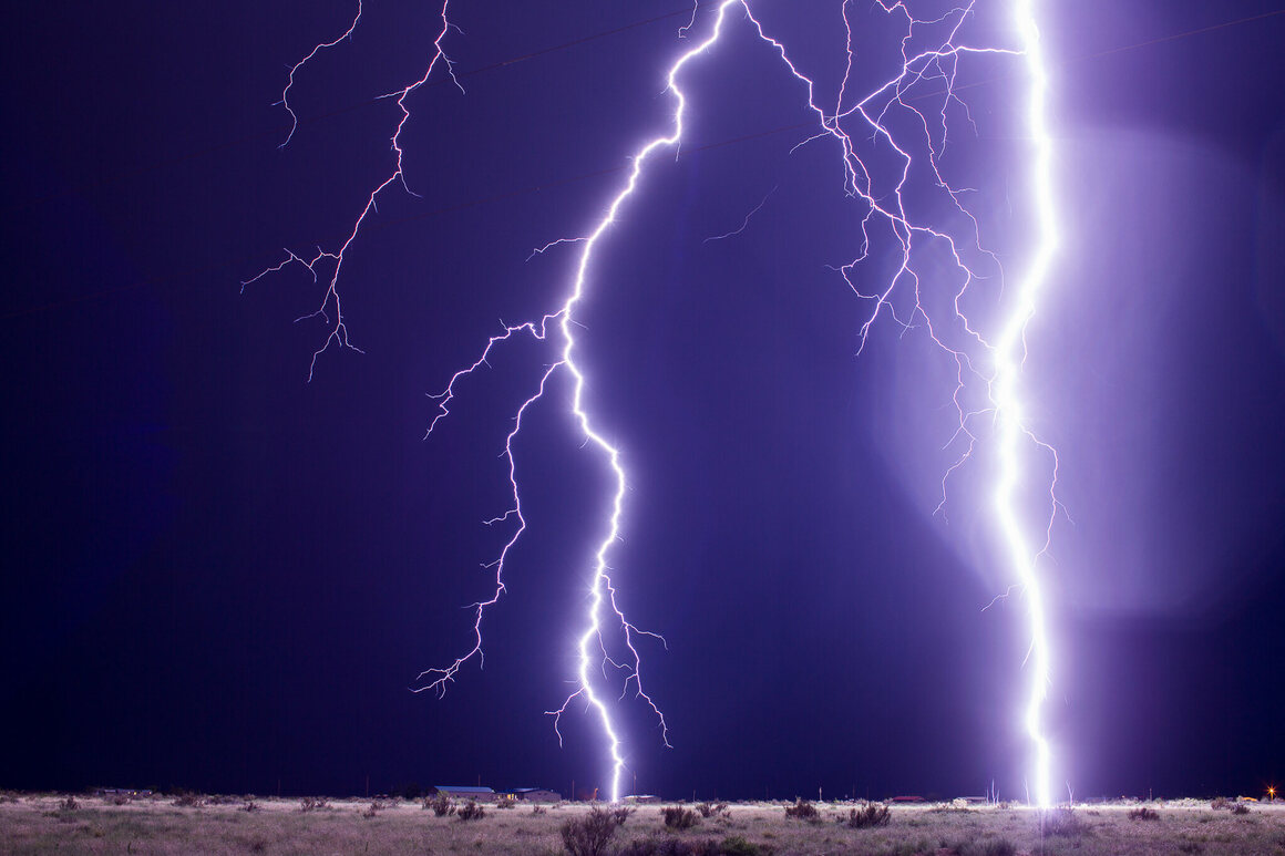 Upward streamers from a close lightning strike in southwestern New Mexico.