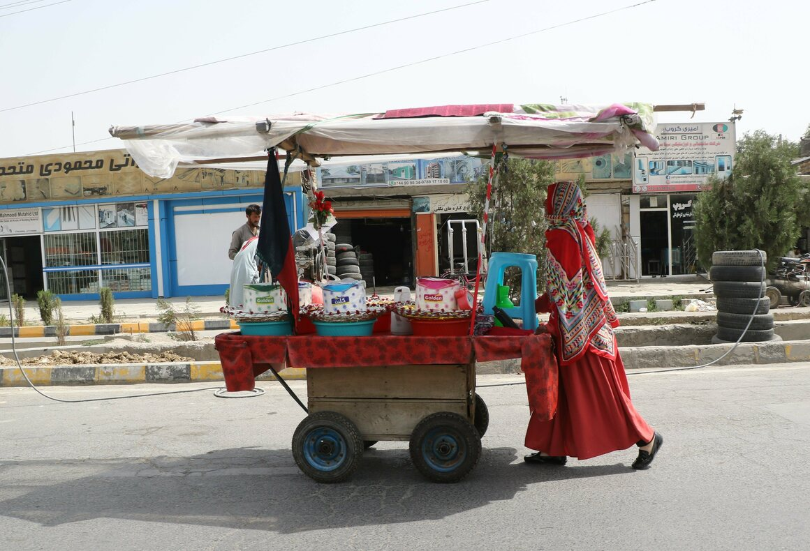 A woman pushes her food cart along a street in Kabul, the birthplace of Hajjar Baban's mother.