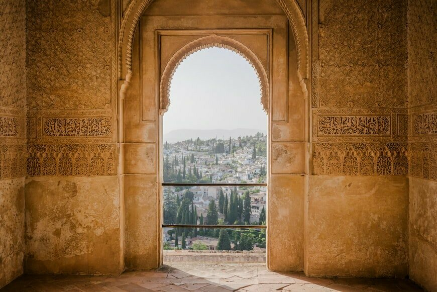 Islamic motifs are evident in the Alhambra, a palace built during the time of the Moors in Andalusia, Spain.