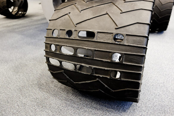 The tires of the Curiosity rover spell JPL in Morse code