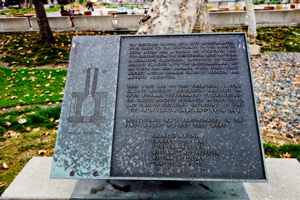 Plaque honoring the individuals who participated in the first Galcit Rocket Test, including John W. Parsons, aka Jack Parsons
