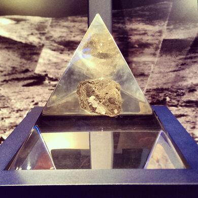 Moon rock in the von Karman Museum