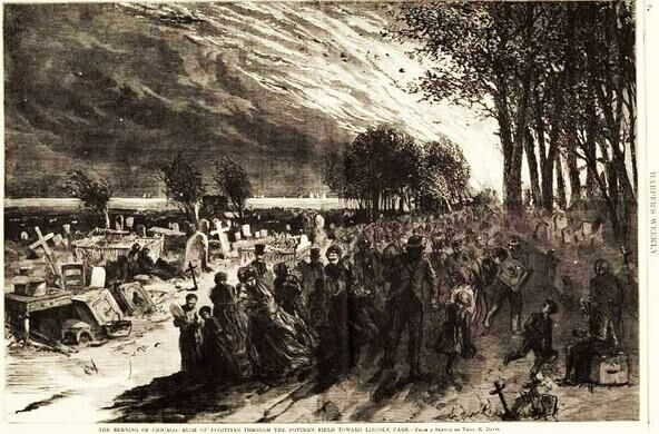 A drawing from Harper's of Lincoln Park during the great fire from 1871