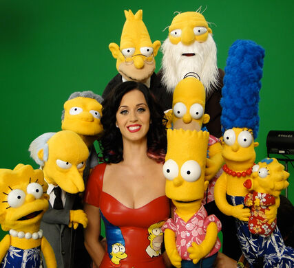 The Simpsons puppets, with Katy Perry