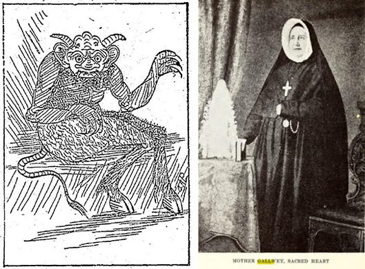"LEFT: In 1913, all Taylor Street was abuzz with rumors that a ""devil baby"" had been born in the area (a common urban legend at the time; this was actually the Devil Baby of Cleveland from 1888; the story was exactly the same!). RIGHT: Mother Gallwey of the Sacred Heart convent which once stood on Taylor; when her body was removed from the private cemetery in the convent in 1907, it reportedly weighed 1000 pounds and looked like marble."
