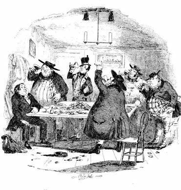 """""""There were more dances, and there were forfeits, and more dances, and there was cake, and there was negus, and there was a great piece of Cold Roast, and there was a great piece of Cold Boiled, and there were mince-pies, and plenty of beer."""""""