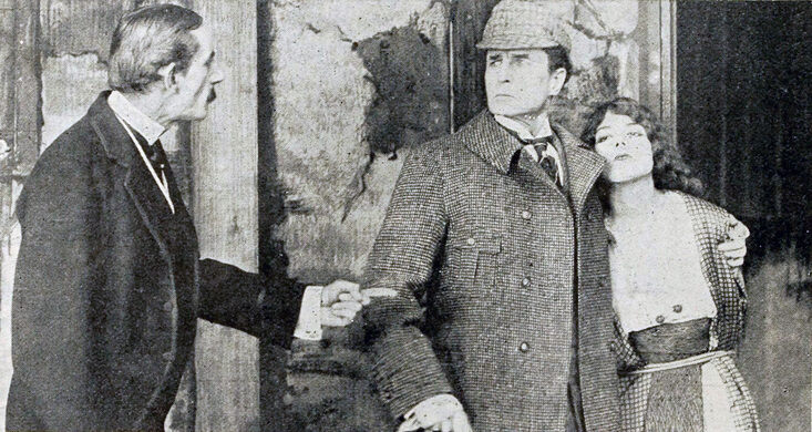 A publicity still of Sherlock Holmes in the July 1916 edition of Moving Picture World, an early trade journal for the American film industry.