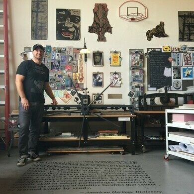 Dave Lefner in his studio at the Brewery Arts Complex