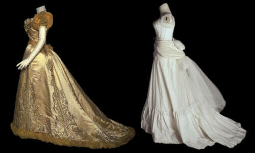 The House of Worth created this two-piece evening dress for Mrs. Palmer to wear to various formal functions related to Chicago's World's Columbian Exposition of 1893.