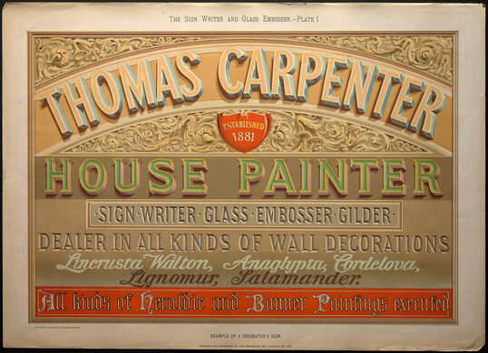 William George Sutherland, The Sign Writer and Glass Embosser (1898), Plate 1