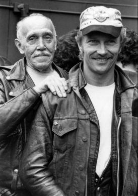 "Touko ""Tom of Finland"" Laaksonen was 58 when he met his protégé Durk Dehner, then 28. This photo of the two of them was taken at a fundraiser for the Foundation at the Eagle in San Francisco, in 1985."