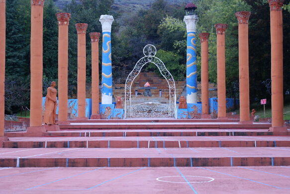 Outdoor temple step approach