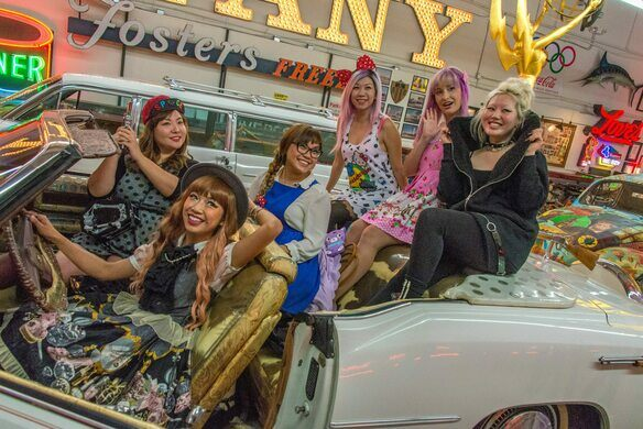 Pose for a photos in the Rhinestone Cowboy's Nudiemobile!