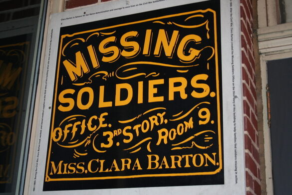 Clara Barton Missing Soldiers' Office sign