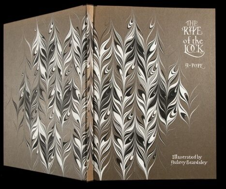 Marbling on binding by Norma Rubovits. On A. Pope, The Rape of the Lock. Illustrated by Aubrey Beardsley. Rubovits 21