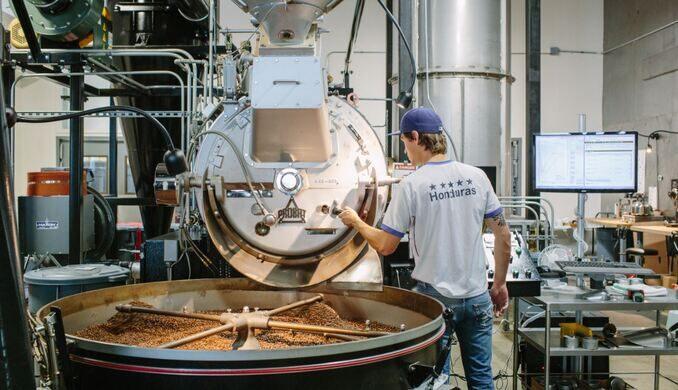 Roasting coffee on-site at Stumptown