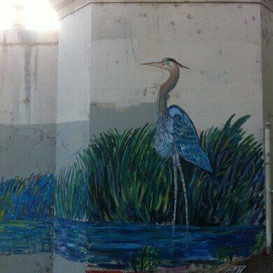 Blue heron mural at the LA River