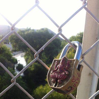 Secret love-lock bridge