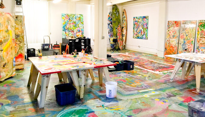 Artist Michael Torquato DeNicola's studio features a hand painted 1,500 sq/ft floor