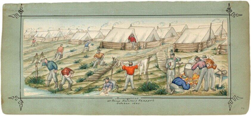 Civil War encampment, original drawing.
