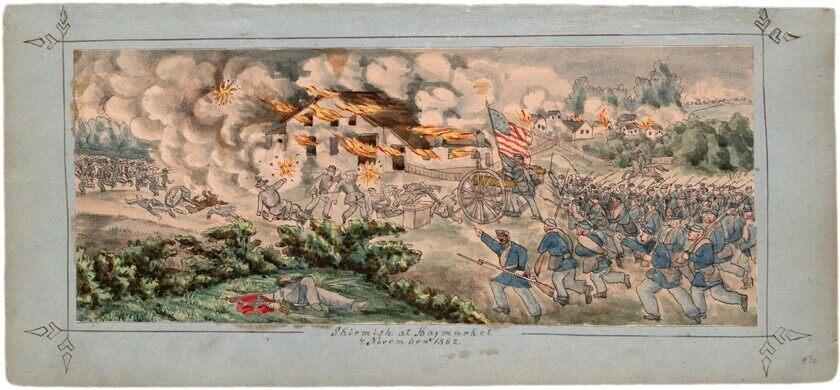 Battle scene, original drawing.