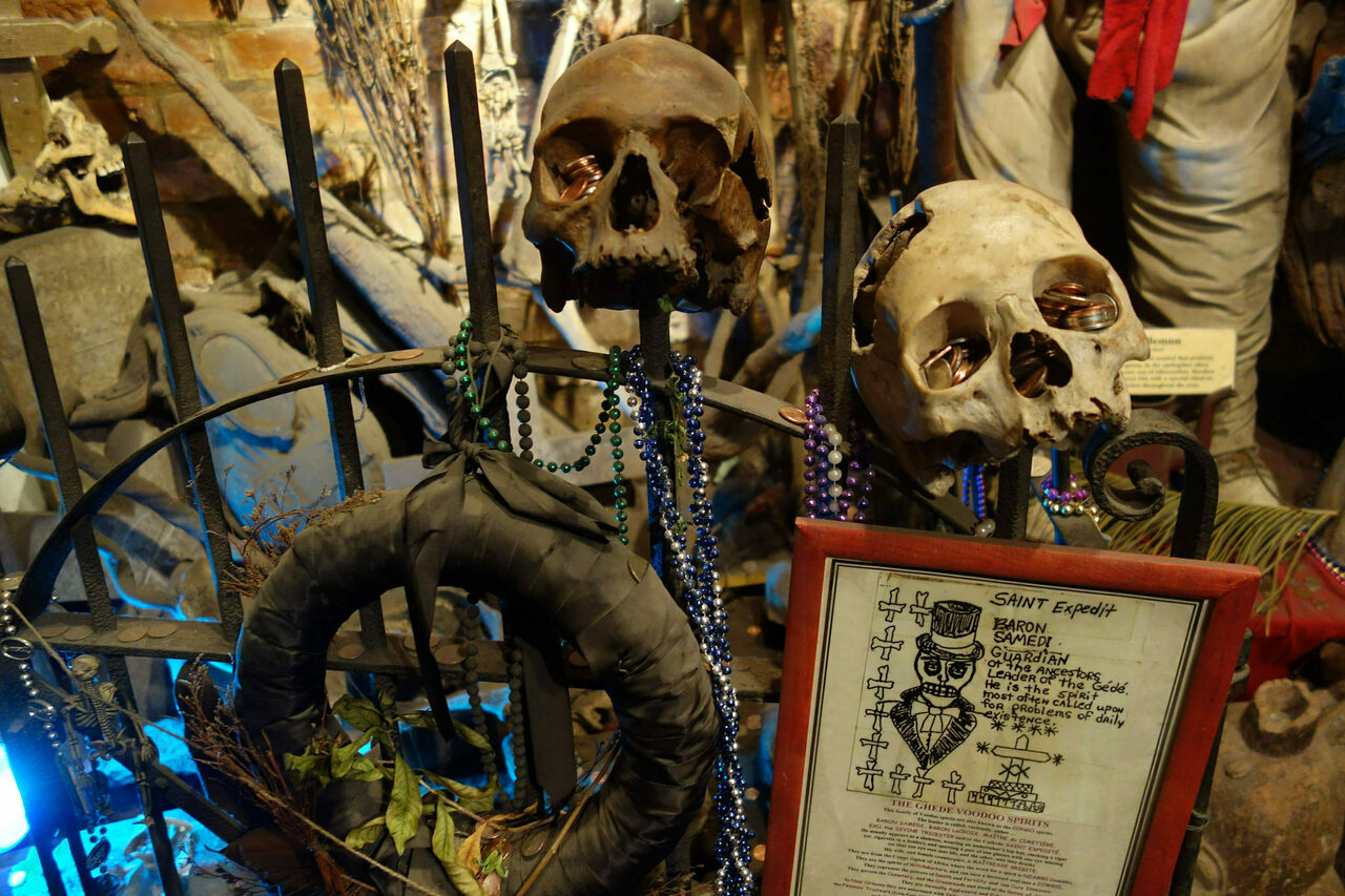 Voodoo artifacts at New Orleans' Historic Voodoo Museum.