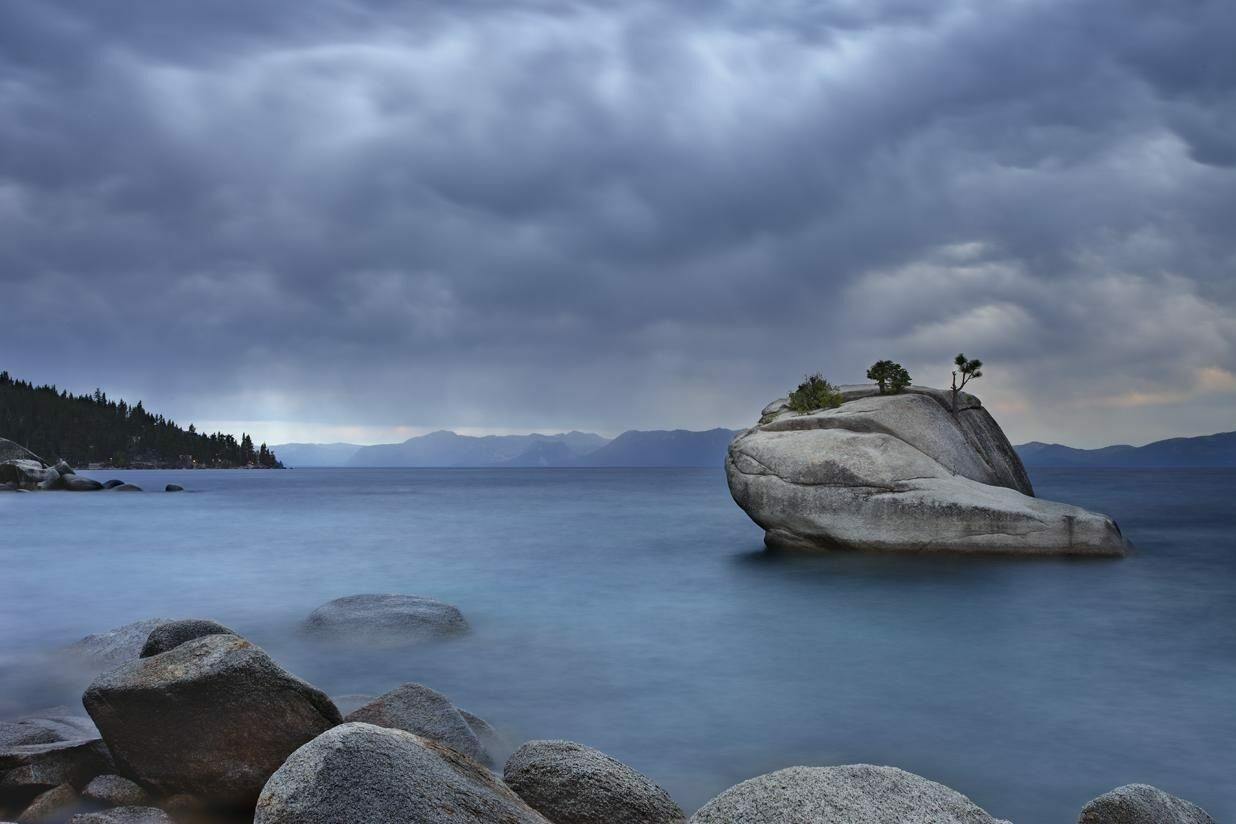 Stormy Bonsai Rock, a draw for avid nature photographers