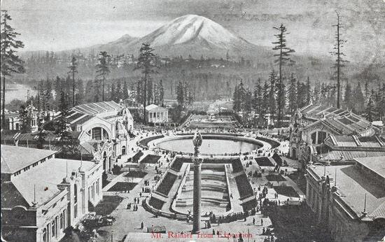 Mt. Rainier as seen from Alaska-Yukon-Pacific Exposition, 1909