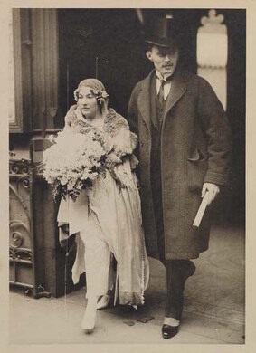 Armistead Peter 3rd and Caroline Peter on their wedding day, February 14, 1921