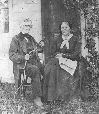 Artist and abolitionist Sheldon Peck and his wife Harriet. Pictured in front of their house in Lombard, IL. 1860