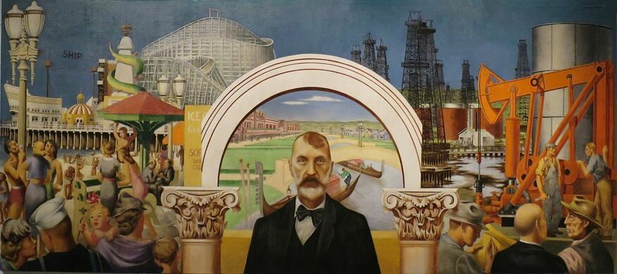 """WPA mural """"Abbot Kinney and the Story of Venice"""" 1941"""